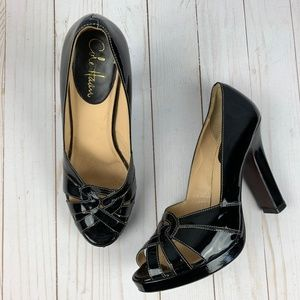 Cole Haan Charlize Black Patent Peep Toe Pumps - 8